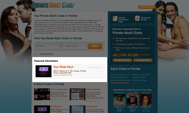 Private Adult Clubs. Get the maximum visibility in your location ...